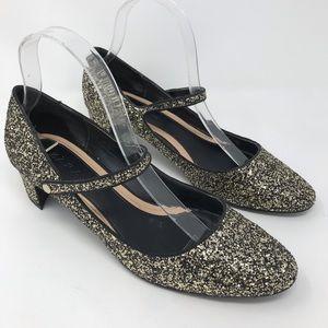 Zara Glitter Mary Jane Shoes Metallic Party 39